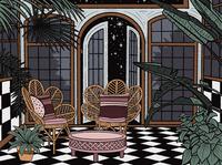 Greenhouse at Night tropical plants patio greenhouse interior illustration