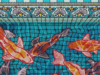 Koi Pond water tile pond fish koi illustration