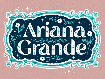 Ariana Grande typography stars hearts name pink cute vintage hand lettering