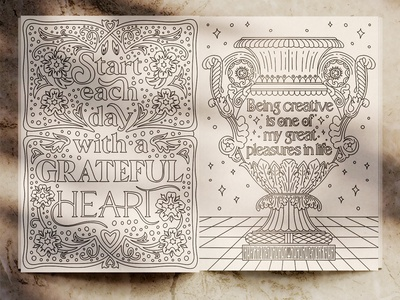 Vintage Coloring Book Pages coloring book vases retro procreate handdrawn pattern vintage floral sketch typography illustration handlettering lettering