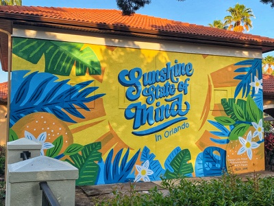 Sunshine Mural at Holiday Inn Orlando hotel resort street art painting mural florida orlando tropical bright colorful sunshine