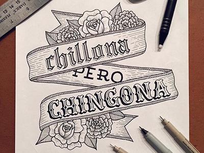 Spanish quote sketch ribbon carnation rose spanish handlettering lettering