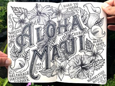 Maui drop shadow illustration typography lettering flowers aloha floral tropical hawaii maui