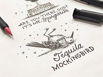 Drink Menu Design Tequila Mockingbird illustration typography hand-lettering lettering tequila puns