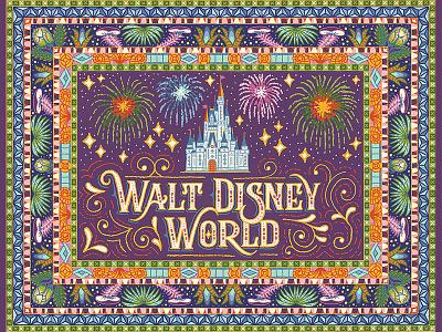 Disney World Rug Art avatar retro lettering castle fireworks pattern theme park disney rug illustration