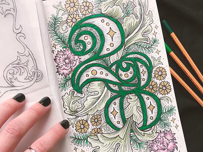 Finished 28 vintage details pattern numbers type lettering floral