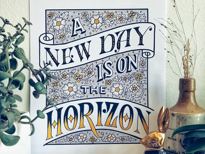A New Day is on the Horizon vintage decorative quote oprah handlettering lettering