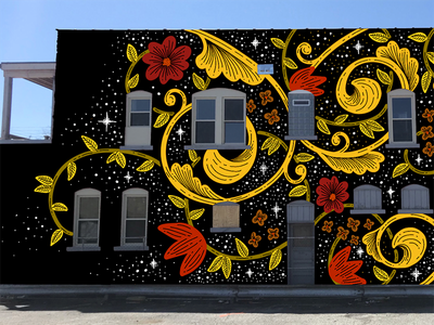 Mural Mock Up black swirls procreate illustration stars floral mural wip