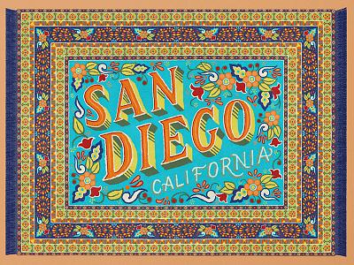 San Diego Magic Carpet tropical decorative colorful rug textile pattern california san diego lettering