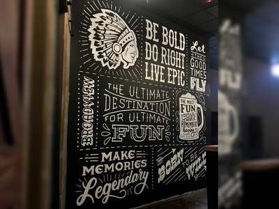 Wild Eagle Saloon Mural painting beer drinking indian bar hand-lettering lettering mural bar art