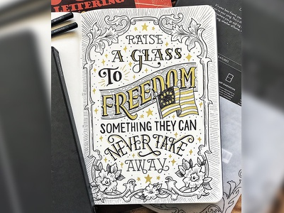 Hamilton Quote typography hand-lettering usa america freedom beer drinking glass broadway hamilton