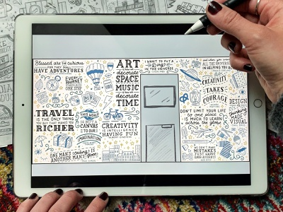 Mural for a hotel in Rouen, France travel agent french paper france rouen handdrawn wip cleveland procreate vintage mural quote illustration typography sketch handlettering lettering