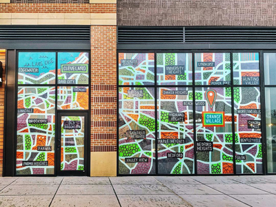 Map of Cleveland Mural window display painting pattern map mural