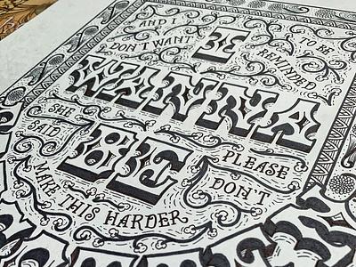 Details of The Strokes lyrics black  white design handdrawn hand-lettering cleveland pattern wip vintage quote floral illustration typography sketch handlettering lettering