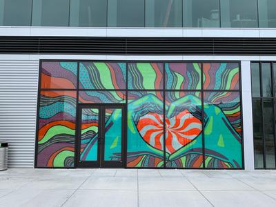 Heart Hands Window Mural