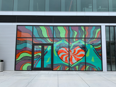 Heart Hands Window Mural psychedelic store front mural window doors patterns teal green pattern stripes heart illustration hands