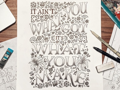 Shovels & Rope Lyrics Hand-lettered art nouveau ink black and white design handdrawn cleveland vintage pattern quote floral illustration typography sketch handlettering lettering