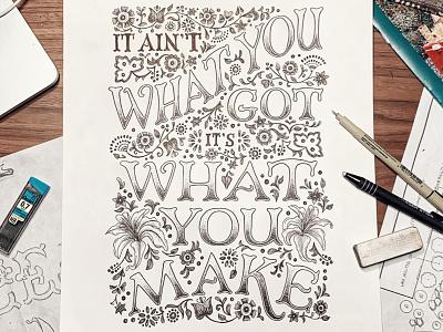 Shovels & Rope Lyrics Hand-lettered art nouveau ink black and white design handdrawn cleveland vintage pattern quote floral illustration typography sketch handlettering lettering