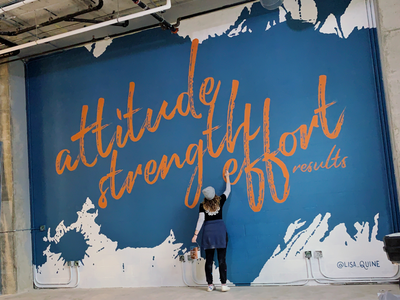 Textured Gym Mural Design orange blue work out gym effort strength attitude paint splatter texture mural