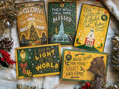 Baylor University Christmas Cards monoline bible lettering lamppost holly christmas tree snowflake college campus christmas card illustration lettering bible christmas