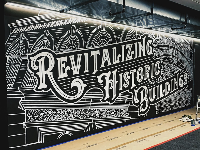 Historical Buildings Mural black and white hand-lettering cleveland handdrawn mural vintage sketch illustration typography handlettering lettering