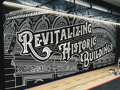 Historical Buildings Mural black and white hand-lettering cleveland handdrawn mural vintage sketch illustration typography handlettering lettering