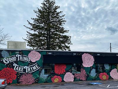 Restaurant Mural environmental design painting lettering pun black pattern floral mural