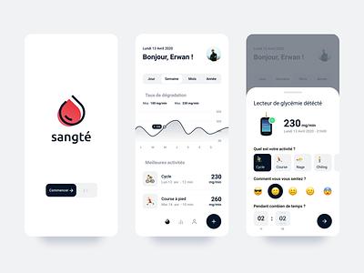 Medical app. - Sangté #2 medical care care medical app blood curve ios medicine app medicinal medicine medical app design app ui ux branding brand identity design