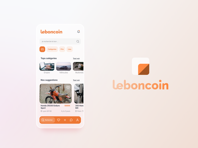 App exploration #1 - leboncoin redesign ui design uiux blurry blur app design website logo app ux ui design