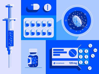 Medication Objects pharmacy medical design medicine box medicine bottle vaccine drugs drug pills vitamin health medical flat vector illustration medication medicine