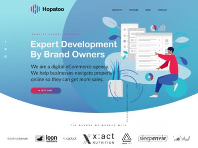 Hopatoo index page redesign concept agency marketing agency ui ux illustration minimalism web design figma design