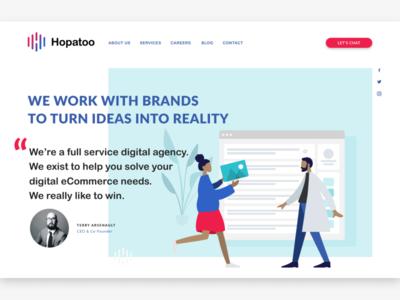 Hopatoo Index Page Var 2 shopify minimalism agency illustration figma web design ui design
