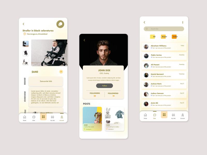 Product Description, profile and inbox screens app ui design minimal message inbox profile ecommerce description product description product mobile app mobile design app design modern ui
