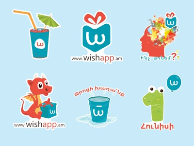 Wishapp Stickers illustration stickers