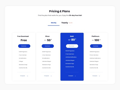 pricing table ui ux pricing table