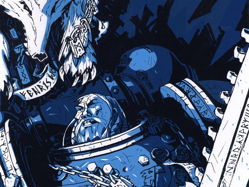 Hero 02: Space Wolf  space wolf space marine illustration print screenprint versus hero
