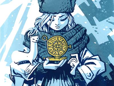 Hero 06: Lyra Belacqua hero screenprint versus versusartproject illustration print lyra dark materials golden compass
