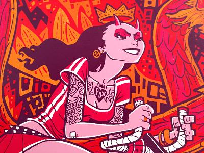 Ride Like Hell poster print screenprint bike devil girl artcrank