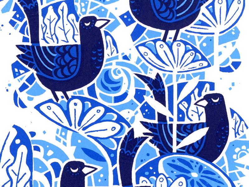 Four Colly Birds 12days colly bird xmas card screenprint christmas design holiday