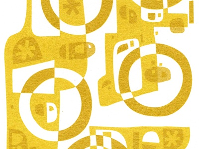 Five Gold Rings  illustration xmas christmas card screenprint gold rings