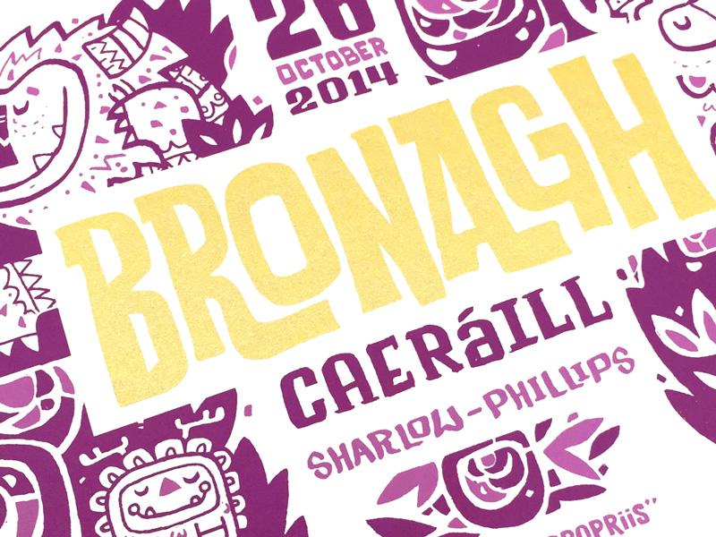Bronagh Card Detaild screenprint card birth announcement type illustration gold