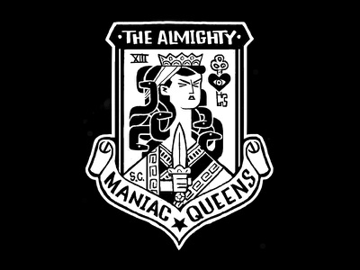 Almighty Maniac Queens punk mod gang medusa queen patch scooter