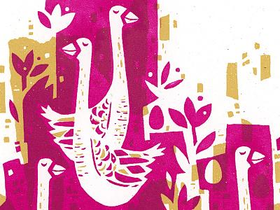 6 Geese illustration geese screenprint