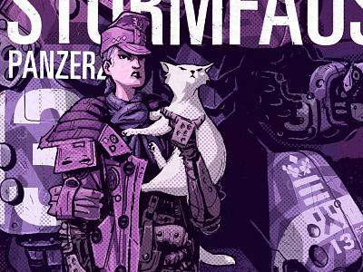 Mecha Sturmfaust  si-fi pulp pilot illustration cat mecha