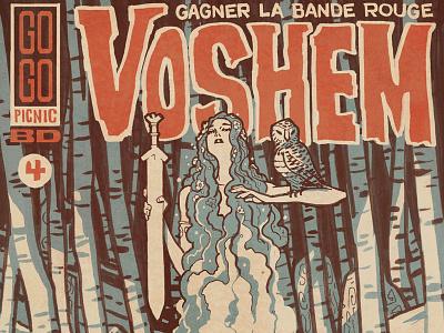1001knights: Voshem forest owl banshee 1001knights soviet pulp illustration 1001 knights