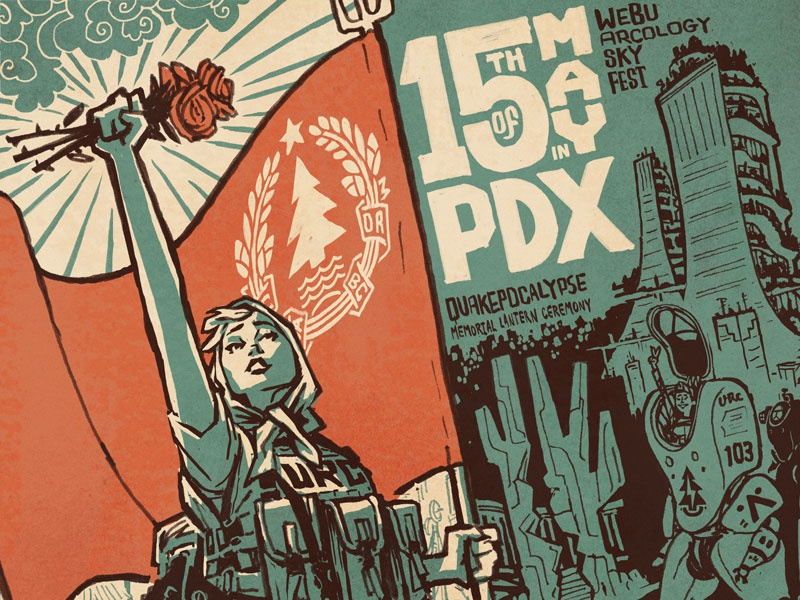 Futurelandia dwpdx revolution arcology mecha soviet illustration cascadia portland futurelandia