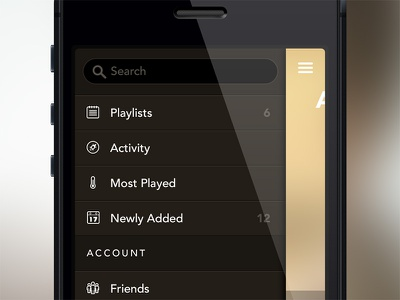 Music App music app ios iphone brown yellow gold drawer menu dark