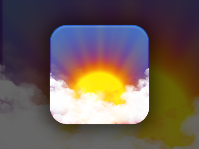 Weather Icon weather icon sunset clouds blue red yellow shining shine app ios