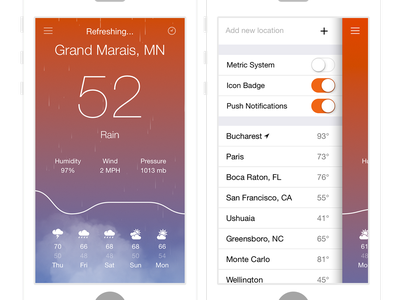 Aero Weather iphone weather ios ios7 rain orange purple app simple minimal