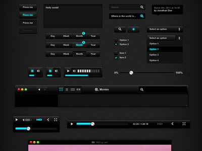 BlackUI v1 — Free PSD Source black ui button music video player select checkbox radio button navigation tooltip free resources